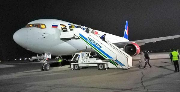 Чартерными рейсами в Карши из России доставлено еще 542 узбекистанца