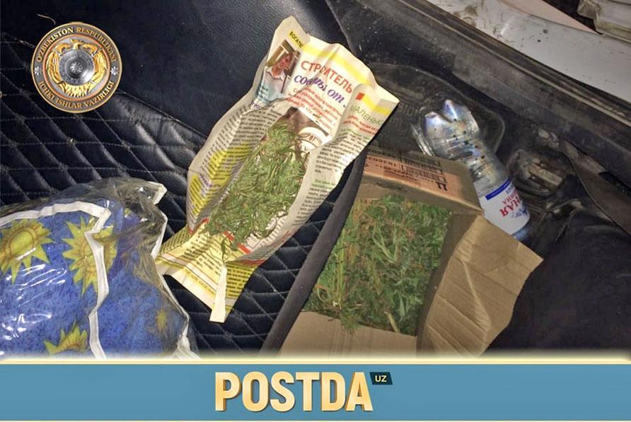 Машина салонидан топилган марихуана 1 килограммдан зиёд тош босди